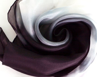 Black and white ombre silk scarf  - abstract painting