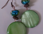 Earthy Green Mother Of Pearl Moon Earrings Glass Wood Copper
