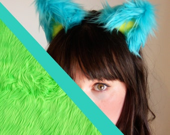 Adjustable Fluffy Lime Green Kitty EARS: Cosplay - Kawaii - Burning Man - Halloween- Burlesque - Rave