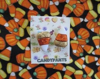 Candy Corn Glitter Halloween Post Earrings