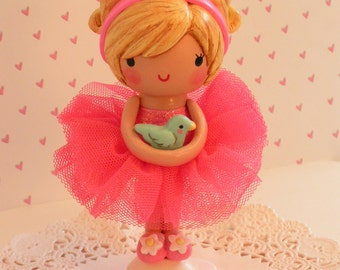 Fairy Princess Cake Topper,Little Girl Gift,Happy Birthday,BabyShower Decoration,Fairy Cake Topper,Fairy Theme Birthday Party,Wood and Clay