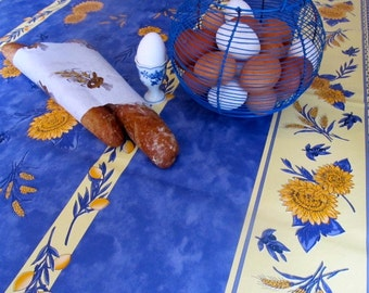 Blue Provence Tablecloth, Oilcloth, French Kitchen Tablecloth, Vinyl ...