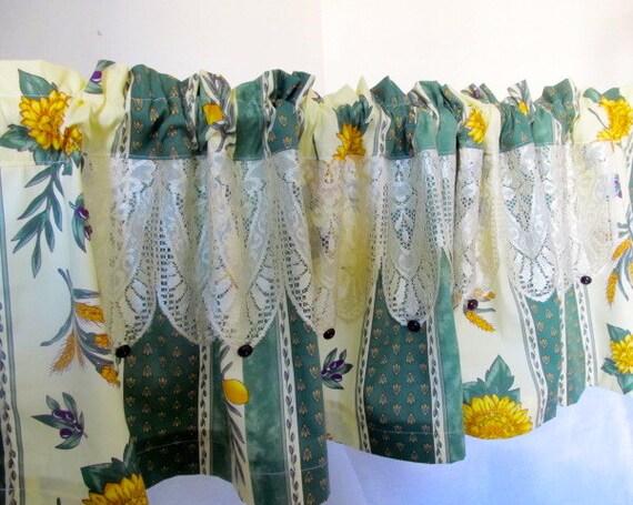 Kitchen Valance Provence Decor Olive Sunflower Curtain