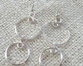 Sterling Silver Wire Double Loop Dangle Earrings
