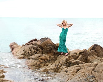 Mermaid, Vintage, Emerald Green Beaded and Sequin Maxi Dress, from Paris