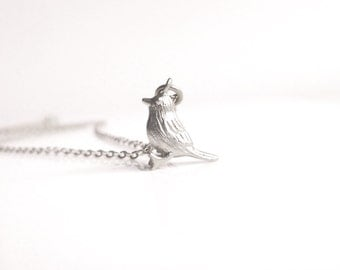 Silver Bird Necklace - tiny little Easter baby chick pendant / charm - simple small link delicate chain chickadee birthday gift for her