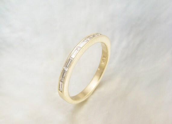 Dainty Baguette Diamond Ring Channel Set Baguette By