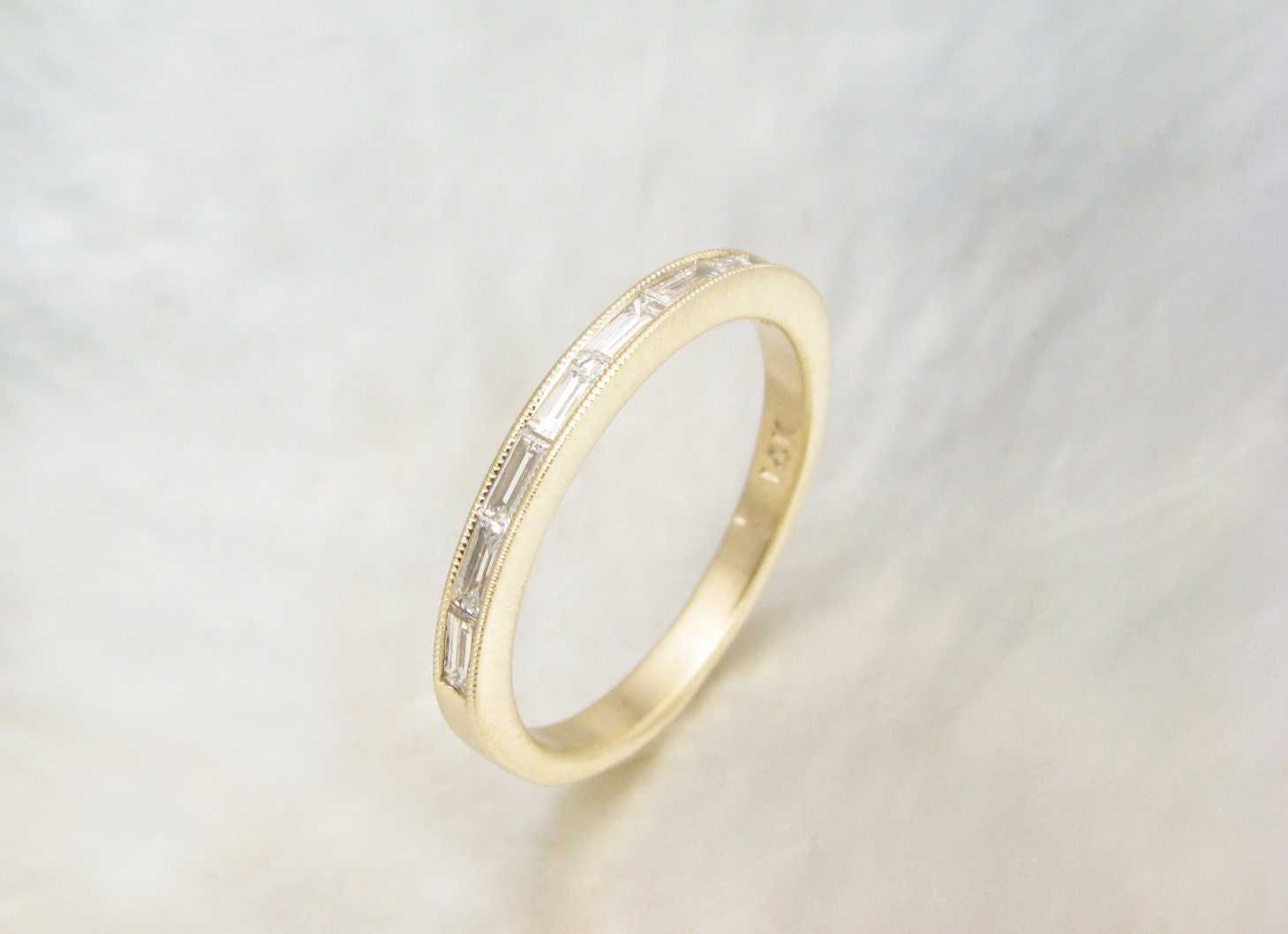Dainty Baguette Diamond Ring Channel Set Baguette By