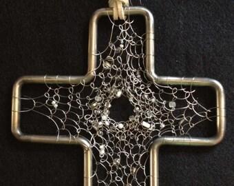 Handmade Stainless Steel Cross Dreamcatcher OOAK