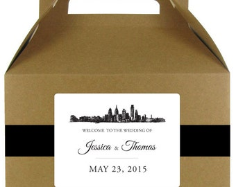 Skyline stickers for wedding welcome bags or gable boxes; available in any skyline; COMPLETELY CUSTOMIZABLE