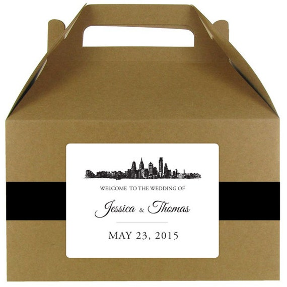 Wedding Welcome Bag Ideas Chicago : Skyline stickers for wedding welcome bags or gable boxes; available in ...