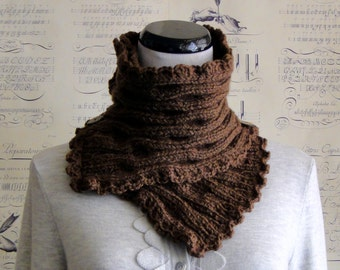 SALE--Scarf Hand Knit Chocolate Brown ripple knit neckwarmer, Ready to ship