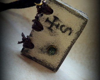 Alchemy Mini Book Necklace  by Dryw on Etsy