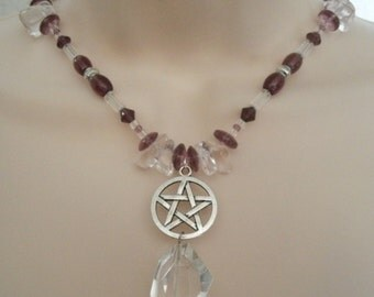 Crystal Pentacle Necklace, wiccan jewelry pagan jewelry wicca jewelry witchcraft witch pentagram goddess metaphysical magic wiccan necklace
