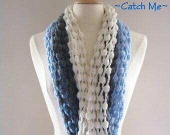 PDF Pattern Crochet Scarf Infinity Blue Gray and White Original Design
