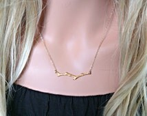 BRANCH Necklace - Twig Necklace - Gold or Sterling Silver - Simple Nature Jewelry