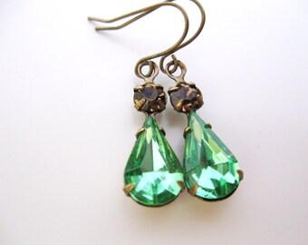 Peridot Green Woodland Earrings in Aged Brass