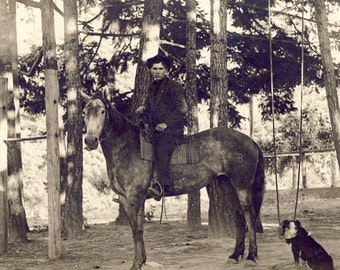 COWBOY Dressed In Black on HORSE with His DOG Faithfully At His Side Photo Circa 1905