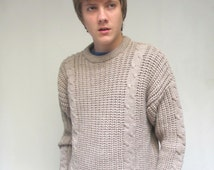 Khaki Cable Knit Wool Sweater Preppy Natural Tan Crew Neck Pullover Men's Medium Large
