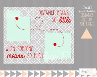Long Distance or Best Friend Prints with States -- 8x10 -- Distance means so little when someone means so much
