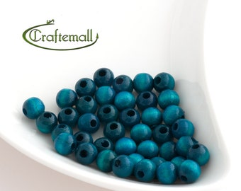 Wooden Beads - Teal 8mm - 20 Beads