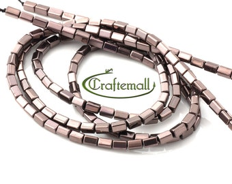 "Electroplated Hematite 5x3mm bronze rectangle - 41cm (16"") strand"