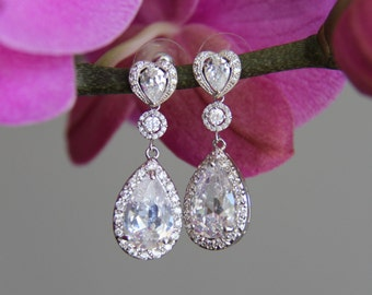 Heart shaped, wedding jewelry, wedding earrings, bridal earrings, silver and clear cubic zirconia earrings, cz earrings