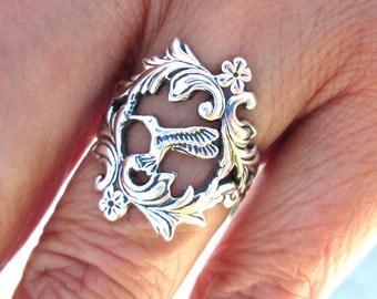 Hummingbird Ring bird ring Unique Sterling Silver Jewelry Adjustable ring Sterling silver ring flower ring Humming bird Not spoon ring R-138