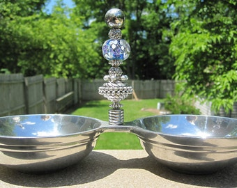 Handmade Beaded Stainless Steel Double Serving dishes bowls - Artisan Lampwork Glass Floral bead by CheekyCherubDesigns - Unique Gift - OOAK