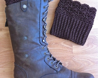 Lacy Boot Toppers - Leg Warmers - Ribbed Boot Cuffs - Reversible - Chocolate Brown