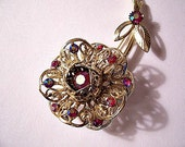 Red Pink Flower Pin Brooch Gold Tone Vintage Aurora Borealis Reflective Stones Filigree Scroll Leaves