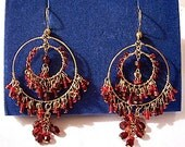 Red Bead Double Hoop Pierced Earrings Gold Tone Vintage Large Round Dangle Rings Lucite Seed Beads
