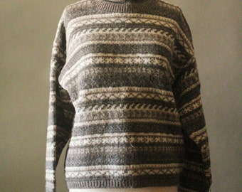 Vintage 90's Taupe, Cream and Grey Stripe Cropped Wool Sweater by Eddie Bauer, size L