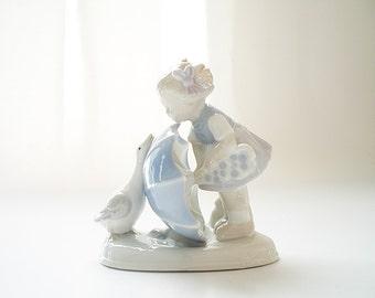 Collectible Vintage Royal Villeroy Porcelain Figurine Mid Century Girl with Goose Nursery Decor