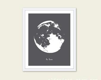 La Lune The Moon Art Print - Charcoal Grey  - Modern Moon Wall Decor - Under 20