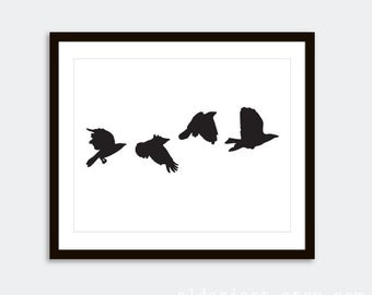 Modern Crows Art Print  // Black Birds Wall Art // Modern Home Decor // Nature Art Birds Poster