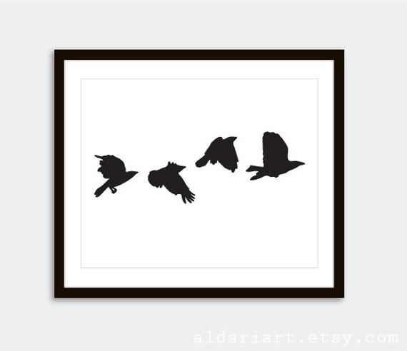 Modern Crows Art Print  // Black Birds Wall Art // Modern Home Decor // Nature Art Birds Poster