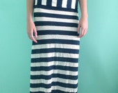 Navy blue & ivory lace stripe small maxi skirt white nautical