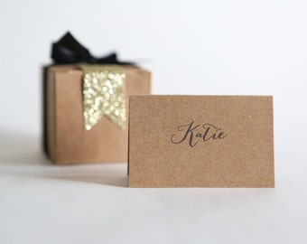 PLACE CARDS calligraphy label tent cards || First Name || wedding engagement