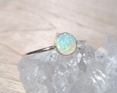 Opal Ring, Natural Opal ring, Opal stacking ring, Ethiopian opal ring, sterling silver opal ring, October birthstone ring, silver opal ring