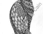 """Cocoon, Zentangle-Inspired-Art, 5"""" x 7"""" PRINT"""