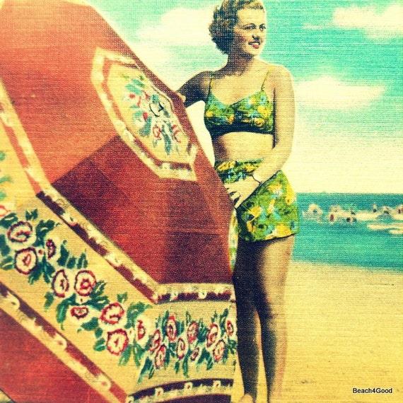 beach house art, gifts for her, Mom Gift, UMBRELLA GIRL 8x8 print coastal decor vintage style art, vintage reproduction art, 1940s beach art