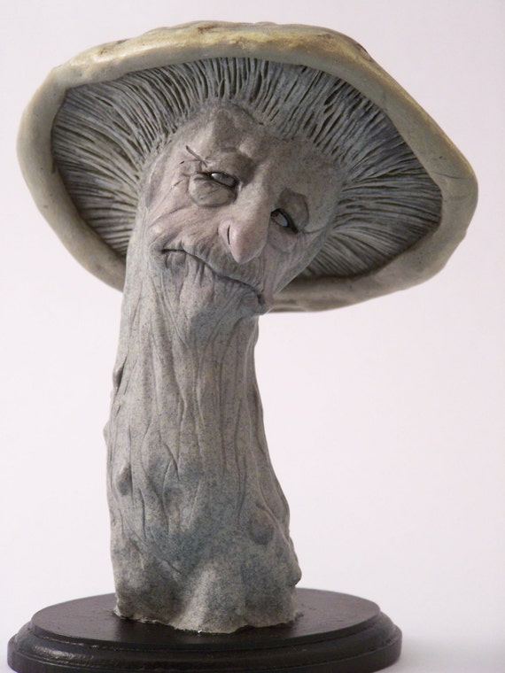 Ooak Art Doll Mushroom Faerie Creature In Polymer Clay And