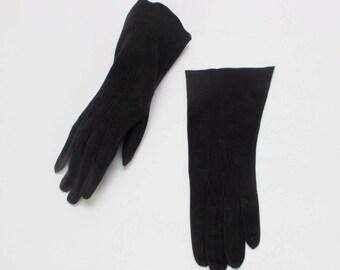 Black Kidskin Sueded Gloves Mid Length Leather Size 6 3/4