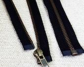 14inch - Black Metal Zipper - Brass Teeth - Open End - 2pcs