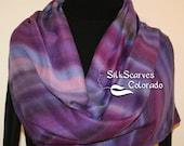 Purple, Lavender Hand Painted Silk Wool Shawl Arizona Dawn. Large Warm Scarf 14x68. Silk Scarves Colorado. Elegant Gift, Anniversary Gift