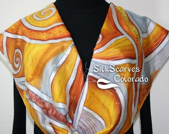 Hand Painted Silk Scarf HAEVEST SUNDAY. Scarf in Golden Terracotta, Copper, Silver Gray. Size 11x60. Bridesmaid Scarf, Anniversary Scarf