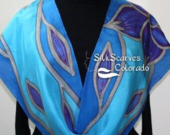 Handpainted Silk Scarf. Blue & Purple Handmade Silk Scarf FLORAL DREAMS. Size 11x60 in. Silk Scarves Colorado. Hand Dyed Scarf 100% silk