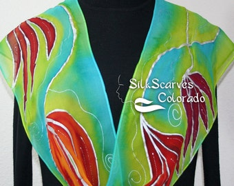 Hand Painted Silk Scarf. Lime, Turquoise, Red Handmade Chiffon Scarf SPRING LOVE, in Several SIZES. Silk Scarves Colorado. Birthday Gift