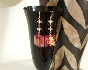 MURANO, VENICE, ITALY -  Ashira Hot Fuchsia Pink Gold Lampwork with Citrine Make You Feel You're In the Piazza - 2.25""